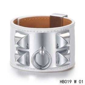 Hermes Collier de Chien iconic white alligator leather bracelet in white gold