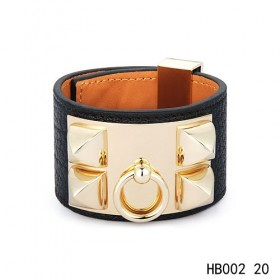 Hermes Collier de Chien iconic black epsom calfskin leather bracelet in yellow gold