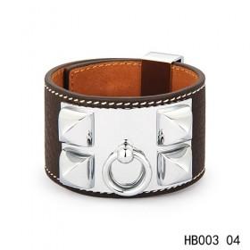 Hermes Collier de Chien iconic dark brown epsom calfskin leather bracelet in white gold