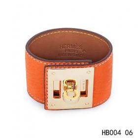 Hermes Kelly Dog orange epsom calfskin leather bracelet in yellow gold