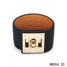 Hermes Kelly Dog black epsom calfskin  leather bracelet in yellow gold