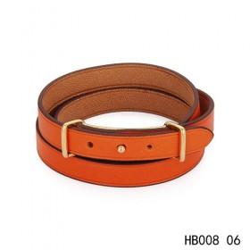 Hermes Behapi Double Tour orange epsom calfskin leather bracelet in yellow gold