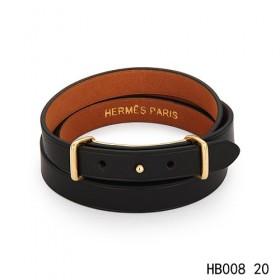 Hermes Behapi Double Tour black epsom calfskinleather bracelet in yellow gold