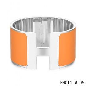 Hermes Clic H Extra-Large Bracelet / orange enamel / white gold