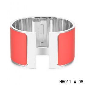 Hermes Clic H Extra-Large Bracelet / red enamel / white gold
