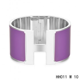 Hermes Clic H Extra-Large Bracelet / purple enamel / white gold