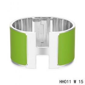 Hermes Clic H Extra-Large Bracelet / pine green enamel / white gold