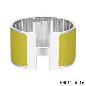 Hermes Clic H Extra-Large Bracelet / loden green enamel / white gold