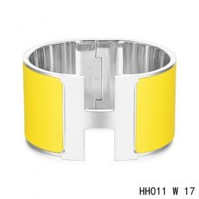 Hermes Clic H Extra-Large Bracelet / yellow enamel / white gold