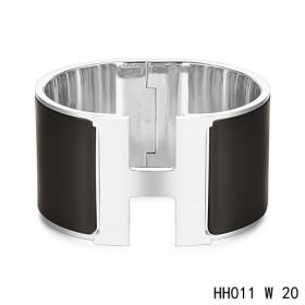 Hermes Clic H Extra-Large Bracelet / black enamel / white gold