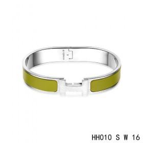 Hermes Clic H narrow Bracelet / enamel loden green / white gold