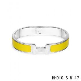Hermes Clic H narrow Bracelet / enamel saffron yellow / white gold