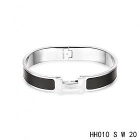 Hermes Clic H narrow Bracelet / enamel black  / white gold