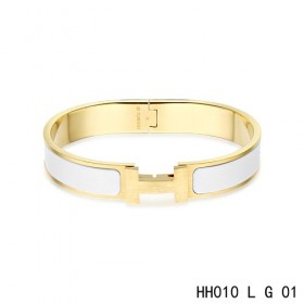 Hermes Clic H narrow Bracelet / enamel white / yellow gold