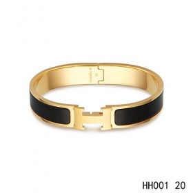 Hermes Clic H narrow Bracelet / enamel black / yellow gold