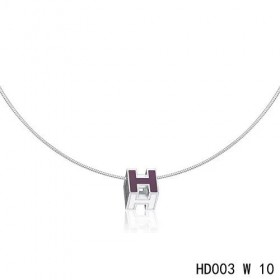 Hermes Cage d'H  pendant periwinkle blue in lacquer with white gold