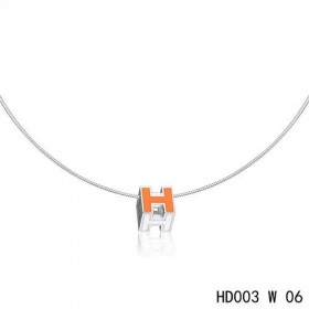 Hermes Cage d'H  pendant orange in lacquer with white gold