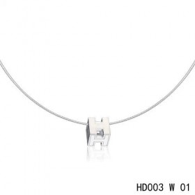 Hermes Cage d'H  pendant white in lacquer with white gold