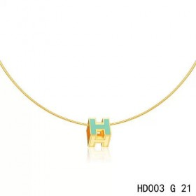 Hermes Cage d'H  pendant atoll blue in lacquer with yellow gold