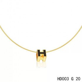 Hermes Cage d'H  pendant black in lacquer with yellow gold