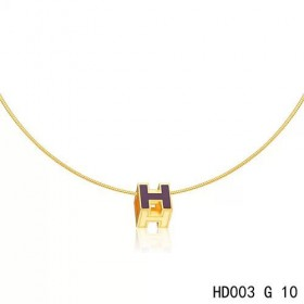 Hermes Cage d'H  pendant periwinkle blue in lacquer with yellow gold