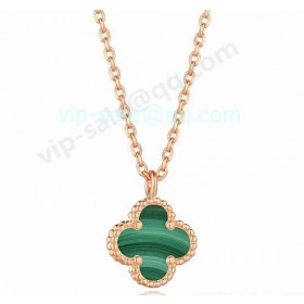 Van cleef & arpels Magic Alhambra Necklace/Pink Gold/Malachite