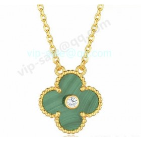 Van cleef & arpels Vintage Alhambra Pendant/Yellow Gold/Malachite