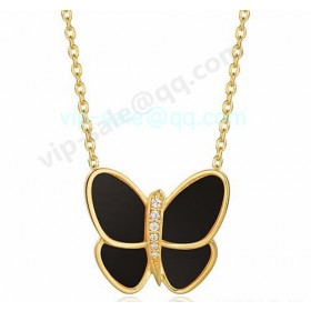 Van cleef & arpels Butterfly Pendant/Yellow Gold/Onyx