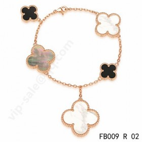 Van cleef & arpels Magic Alhambra braceletpink gold with 5 Stone Clover