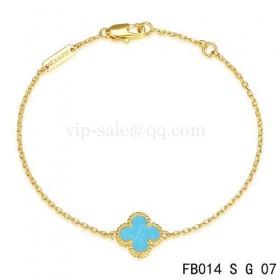 Van cleef & arpels Sweet Alhambra braceletyellow gold with Turquoise