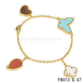 Van cleef & arpels Lucky Alhambra BraceletYellow gold with 4 Stone Combination Motifs