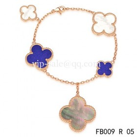 Van cleef & arpels Magic Alhambra braceletpink with 5 Stone Clover