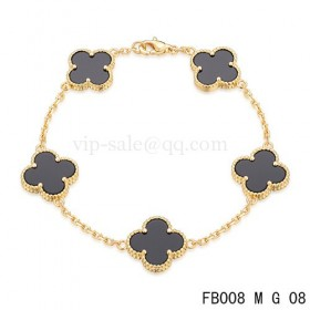 Van cleef & arpels Alhambra braceletYellow with 5 Black clover