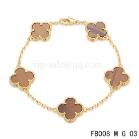 Van cleef & arpels Alhambra braceletYellow with 5 Gradient red clover