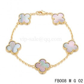 Van cleef & arpels Alhambra braceletYellow with 5 Gray clover