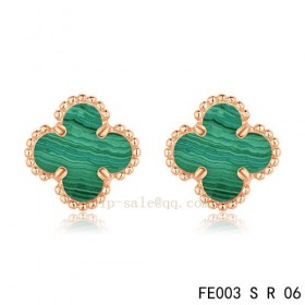 Replica Van Cleef and Arpels Clover Malachite Pink gold earrings