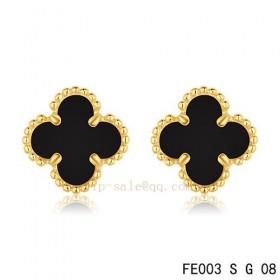 Cheap Van Cleef and Arpels Clover Onyx yellow gold earrings