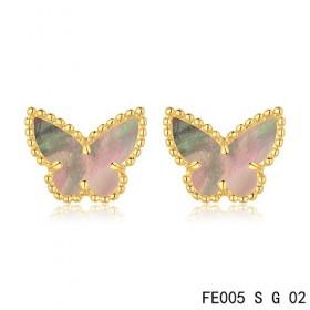 Van cleef & arpels Butterflies Earrings yellow gold,Brown Mother-of-Pearl