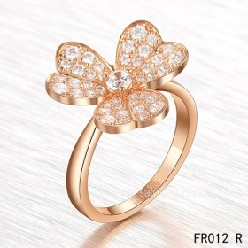 Fake Van Cleef ingIn pink gold with round diamonds