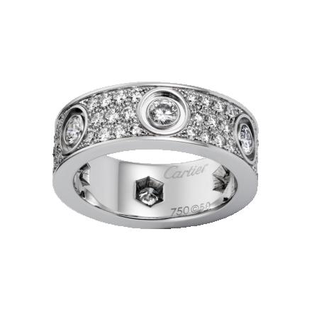 Réplica sortija diamante LOVE Cartier de oro blanco para la venta