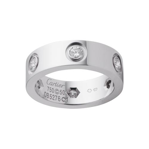 1:1 Grade Cartier LOVE ring replica with 6 diamonds white gold
