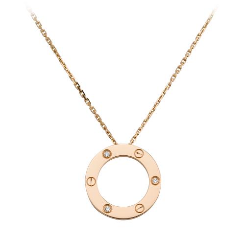 Replica Cartier LOVE diamond necklace with 3 diamonds pink gold pendant