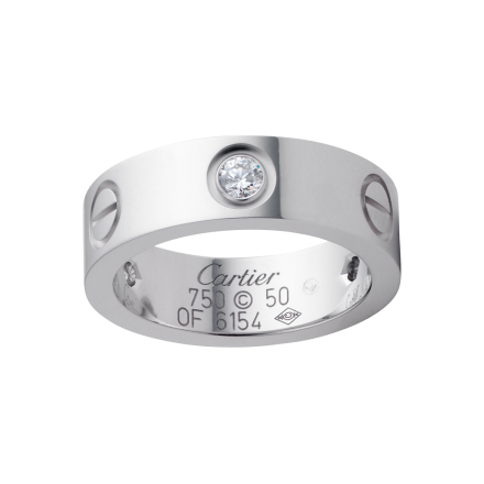 AAA Grade Sortija LOVE Cartier copia de oro blanco con 3 diamantes