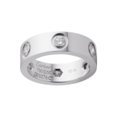 1:1 Grade Cartier LOVE ring replica with 6 diamonds white gold