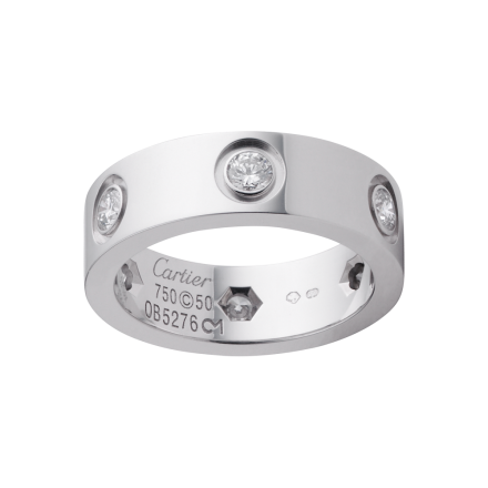 1:1 Grade Replik Cartier Love Ring mit 6 Diamanten Weißgold