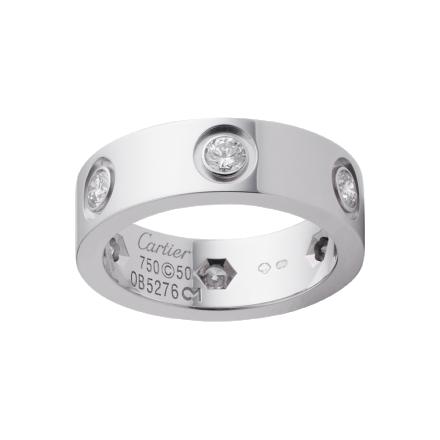 1:1 grade Bague LOVE Cartier répliques de 6 diamants en or gris