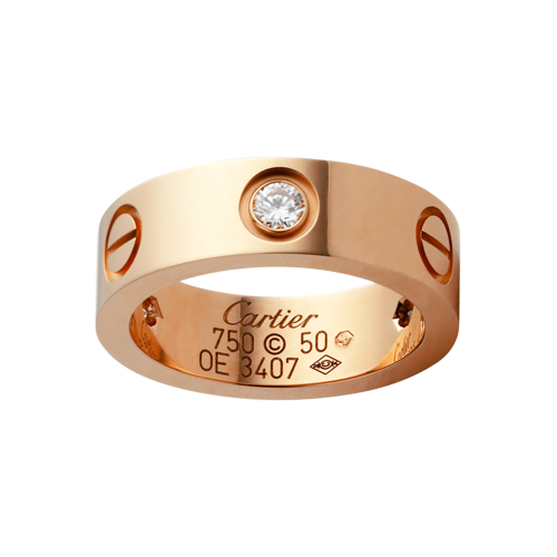 AAA quality Cartier LOVE ring 3 diamonds in rose gold replica