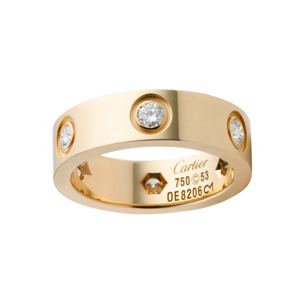 Cartier LOVE ring Replica with 6 diamonds 18K yellow gold