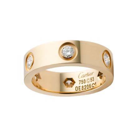 Bague LOVE Cartier réplique de 6 diamants or jaune 18 carats