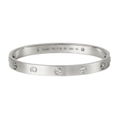 Best Cartier LOVE bracelet replica white gold with 4 diamonds and screwdriver